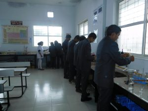 Students performing practicals in Chemistry Lab