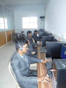 Students performing practicals in Language Lab